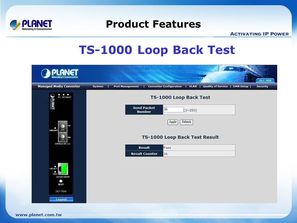 www.planet.com.tw Product Features TS-1000 Loop Back Test
