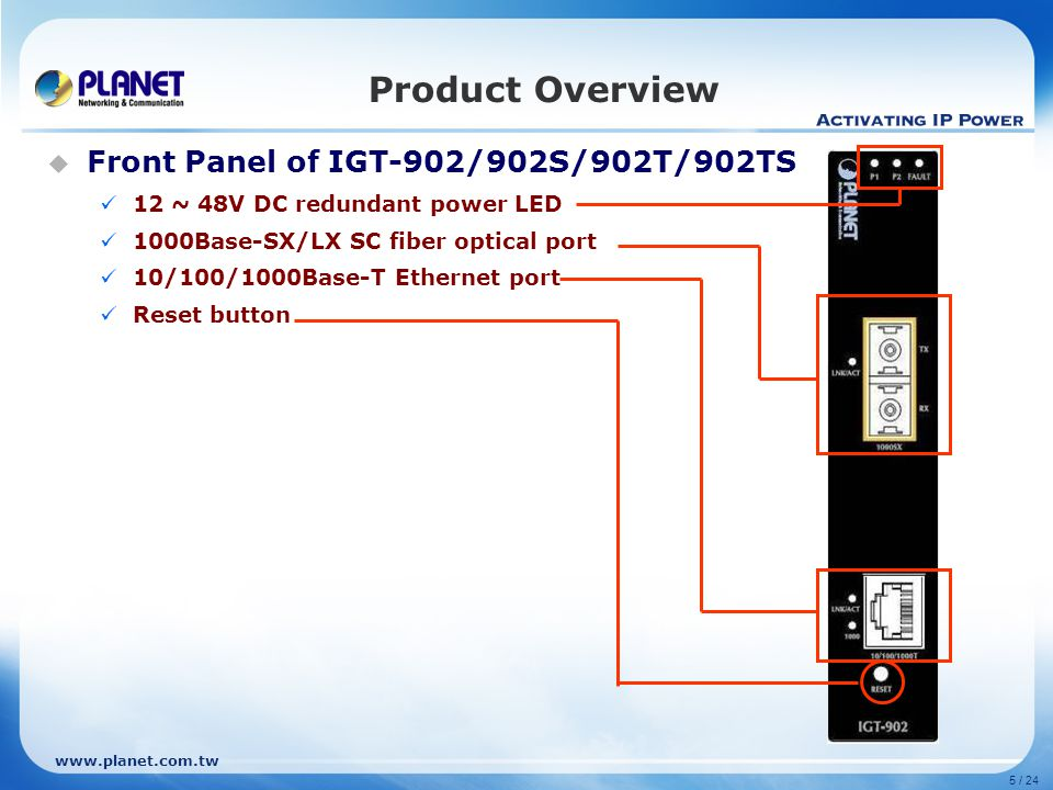 www.planet.com.tw Product Comparison - 2 BrandPLANETADVANTECH Model NameIGT-90x/90xTEKI-2741x Outlook Standard Compliance IEEE 802.3 IEEE 802.3u IEEE 802.3ab IEEE 802.3z IEEE 802.3x IEEE 802.1q IEEE 802.1p IEEE 802.3ah IEEE 802.3 IEEE 802.3u IEEE 802.3ab IEEE 802.3z IEEE 802.3x Protection ESD: 6KV EFT: 6KV N/A
