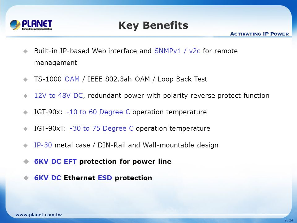 www.planet.com.tw Product Features QoS Setting