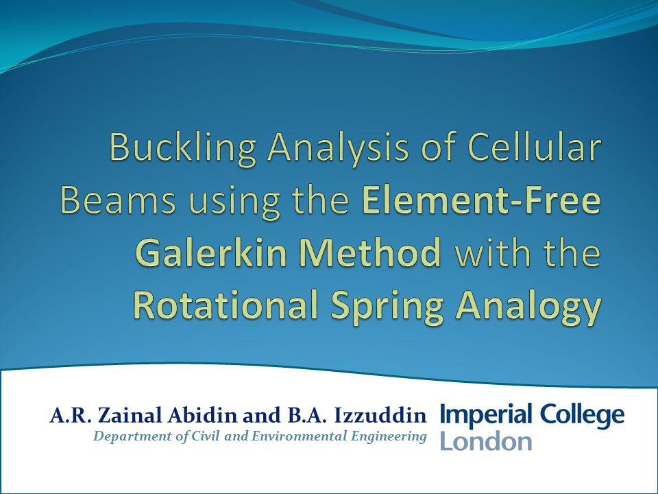 Background UNIT CELL ANALYSIS discritised using the EFG method – via the moving least squares (MLS) technique rigid body movement is prevented by means of simple supports at the web-post