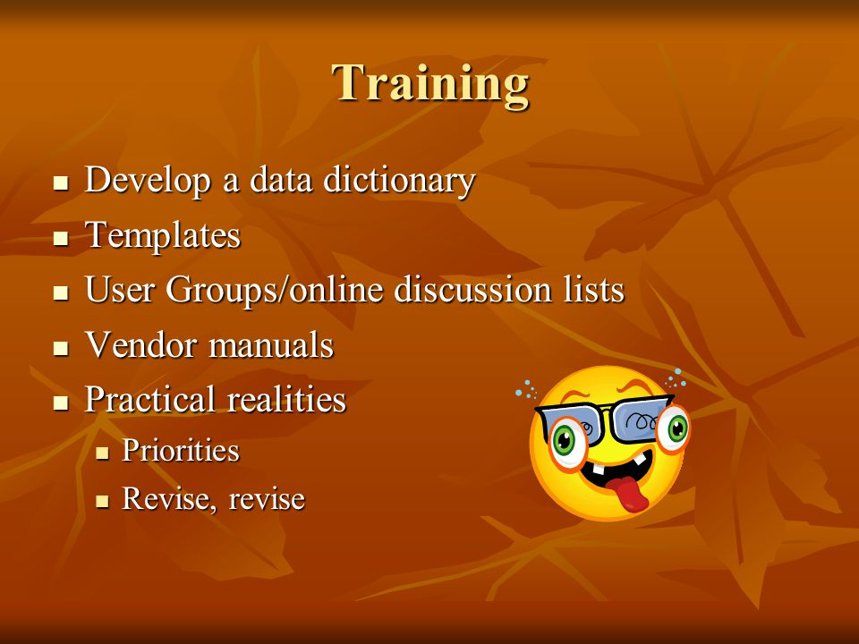 Training Develop a data dictionary Develop a data dictionary Templates Templates User Groups/online discussion lists User Groups/online discussion lis