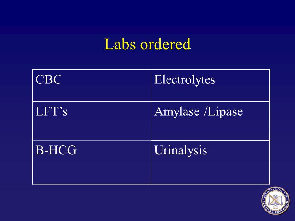 Labs ordered CBCElectrolytes LFT'sAmylase /Lipase B-HCGUrinalysis