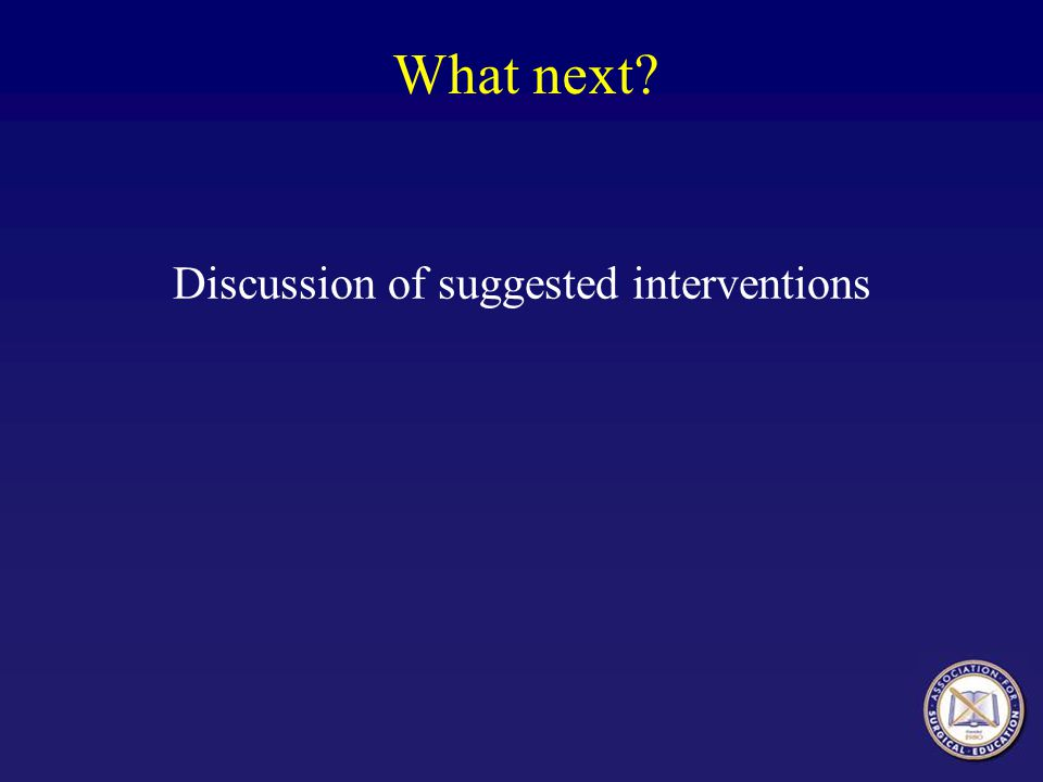 What next? Discussion of suggested interventions