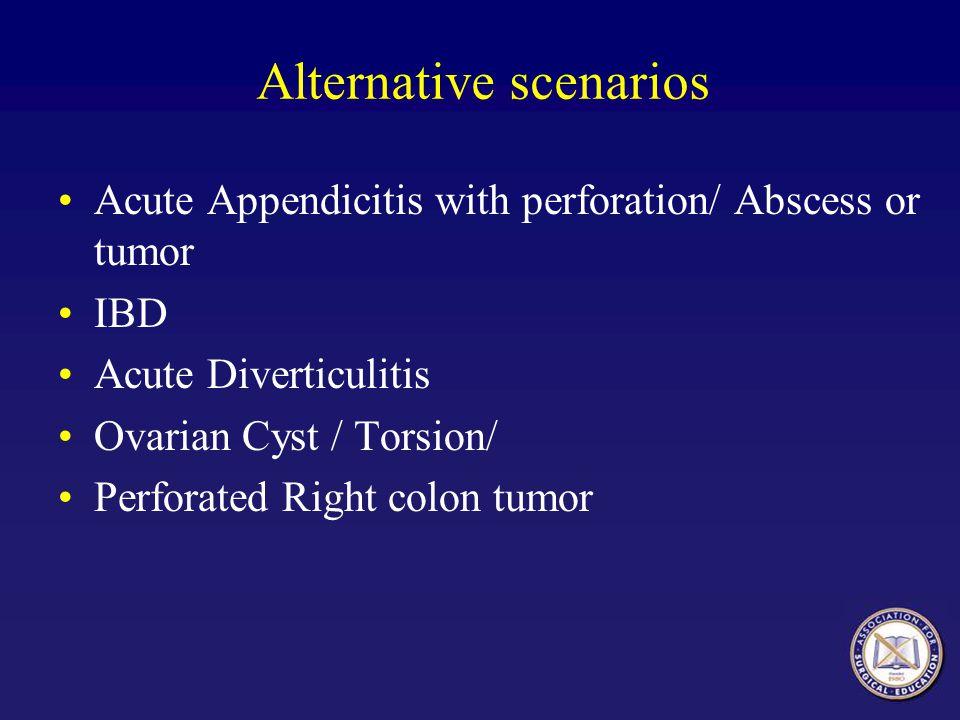 Alternative scenarios Acute Appendicitis with perforation/ Abscess or tumor IBD Acute Diverticulitis Ovarian Cyst / Torsion/ Perforated Right colon tumor