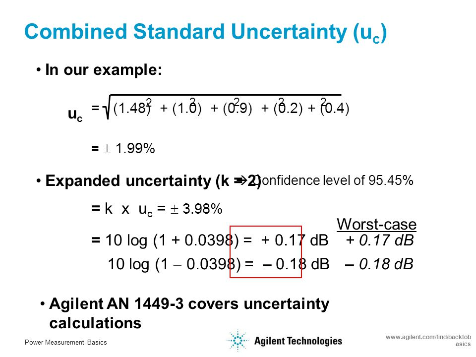 Power Measurement Basics www.agilent.com/find/backtob asics RSS (Root Sum of the Squares) Uncertainty* Power Reference Uncertainty 0.4 Normal 2 0.2 Instrumentation Uncertainty 0.8 Normal 2 0.4 Combined Standard Uncertainty = u c = RSS of u i * In accordance to guidelines published in the ISO Guide to the Expression of Uncertainty in Measurement and ANSI/NCSL Z540-2-1996, US Guide to the Expression of Uncertainty in Measurement.