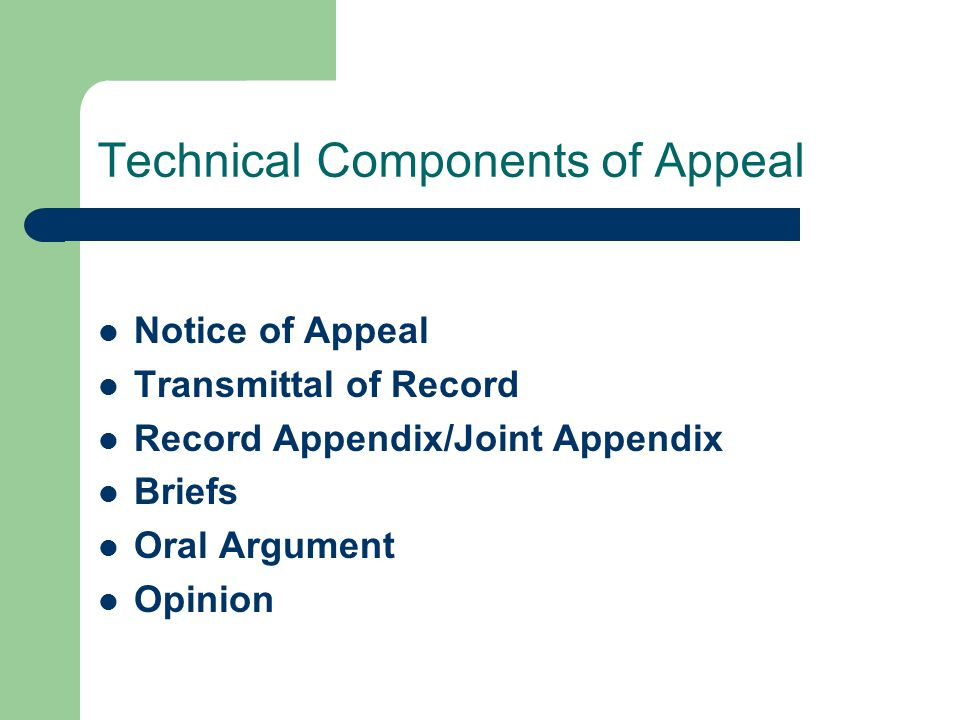 Technical Components of Appeal Notice of Appeal Transmittal of Record Record Appendix/Joint Appendix Briefs Oral Argument Opinion