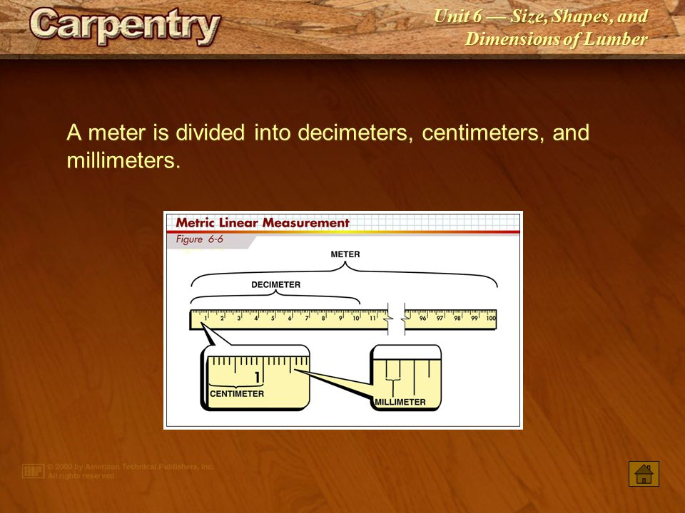 Unit 6 — Size, Shapes, and Dimensions of Lumber The actual size of lumber is always smaller than the nominal size.