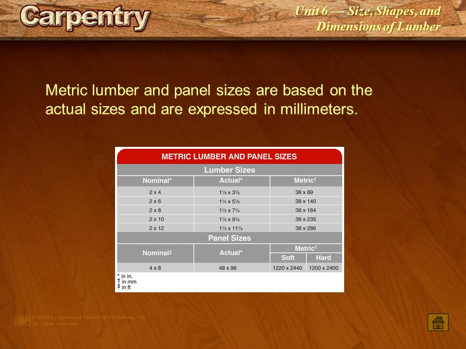 Unit 6 — Size, Shapes, and Dimensions of Lumber English and metric measurements may be required to be converted.