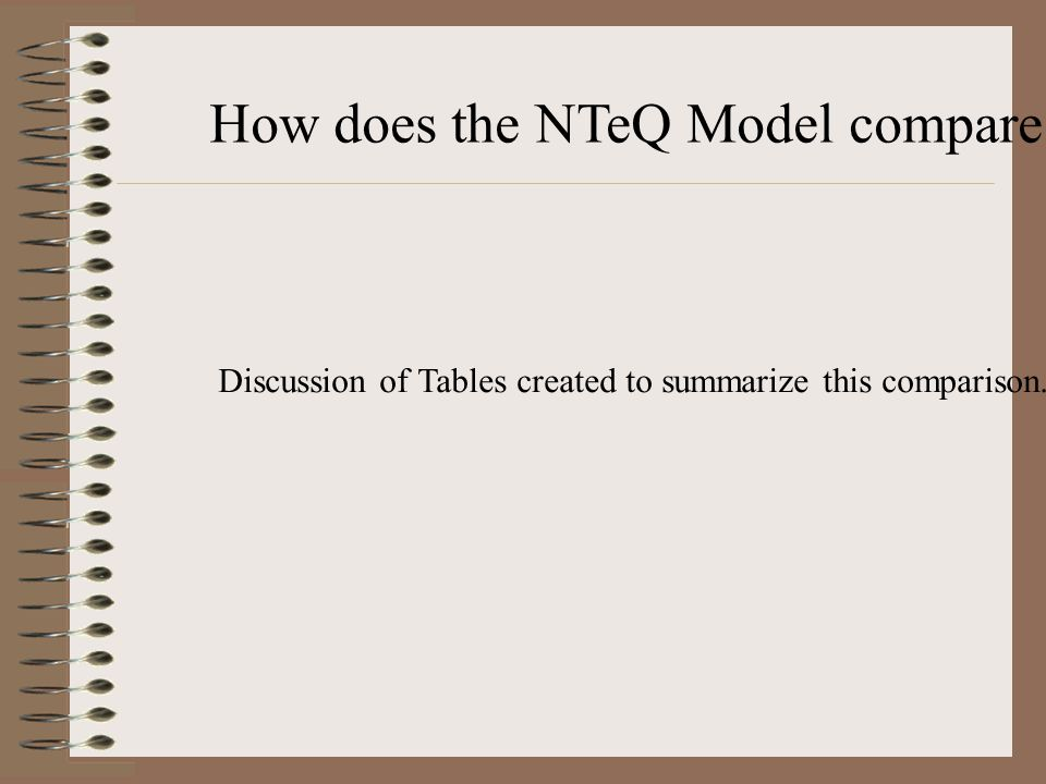 How does the NTeQ Model compare with a traditional classroom? Discussion of Tables created to summarize this comparison.