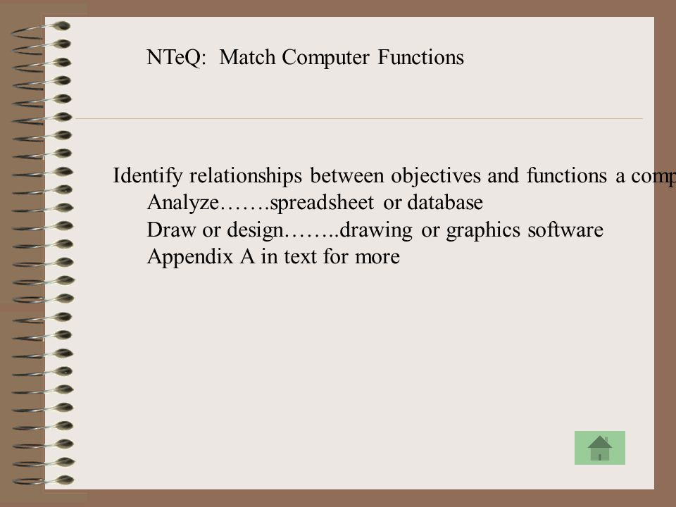 NTeQ: Match Computer Functions Identify relationships between objectives and functions a computer can perform. Analyze…….spreadsheet or database Draw