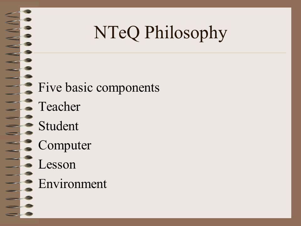 NTeQ Philosophy Five basic components Teacher Student Computer Lesson Environment