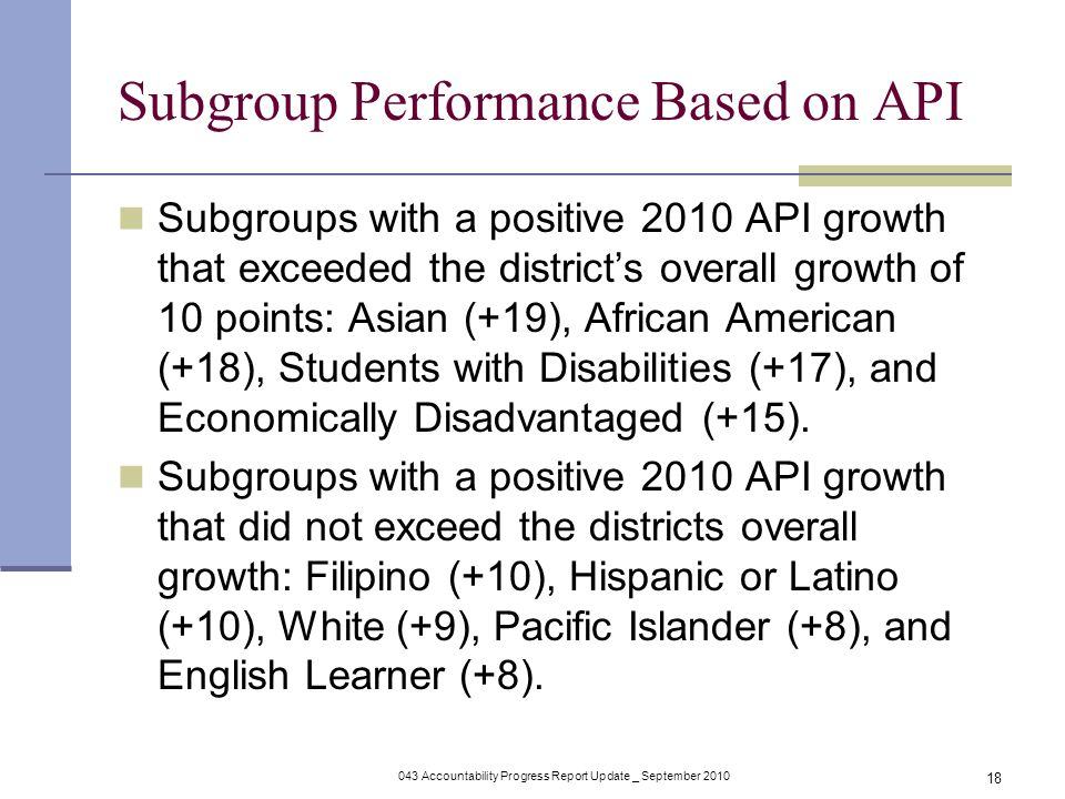 043 Accountability Progress Report Update _ September Subgroup Performance Based on API Subgroups with a positive 2010 API growth that exceeded the district's overall growth of 10 points: Asian (+19), African American (+18), Students with Disabilities (+17), and Economically Disadvantaged (+15).