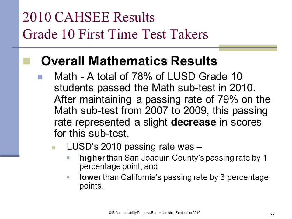 043 Accountability Progress Report Update _ September CAHSEE Results Grade 10 First Time Test Takers Overall Mathematics Results Math - A total of 78% of LUSD Grade 10 students passed the Math sub-test in 2010.