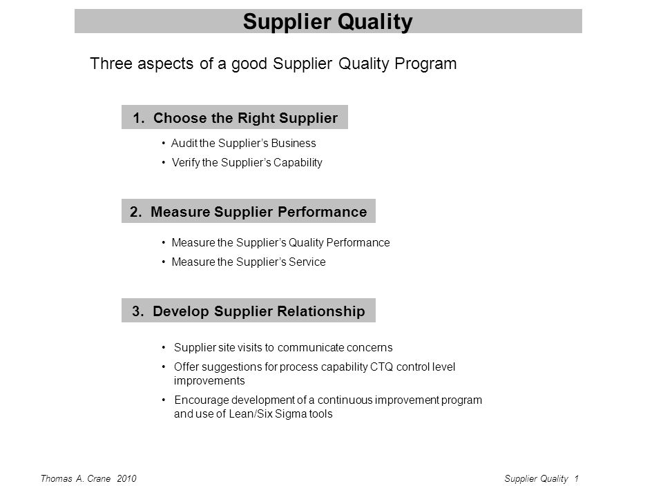 Thomas A. Crane 2010Supplier Quality 1 Supplier Quality 1. Choose the Right Supplier Audit the Supplier's Business Verify the Supplier's Capability 2.