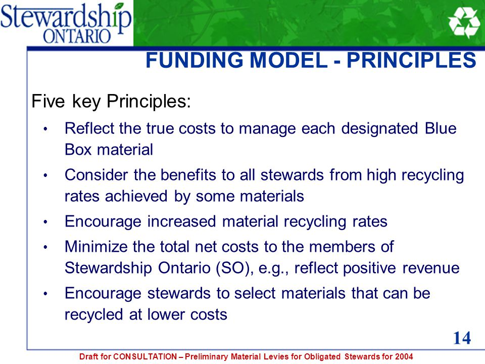 Draft for CONSULTATION – Preliminary Material Levies for Obligated Stewards for 2004 FUNDING MODEL - PRINCIPLES Five key Principles: Reflect the true costs to manage each designated Blue Box material Consider the benefits to all stewards from high recycling rates achieved by some materials Encourage increased material recycling rates Minimize the total net costs to the members of Stewardship Ontario (SO), e.g., reflect positive revenue Encourage stewards to select materials that can be recycled at lower costs 14