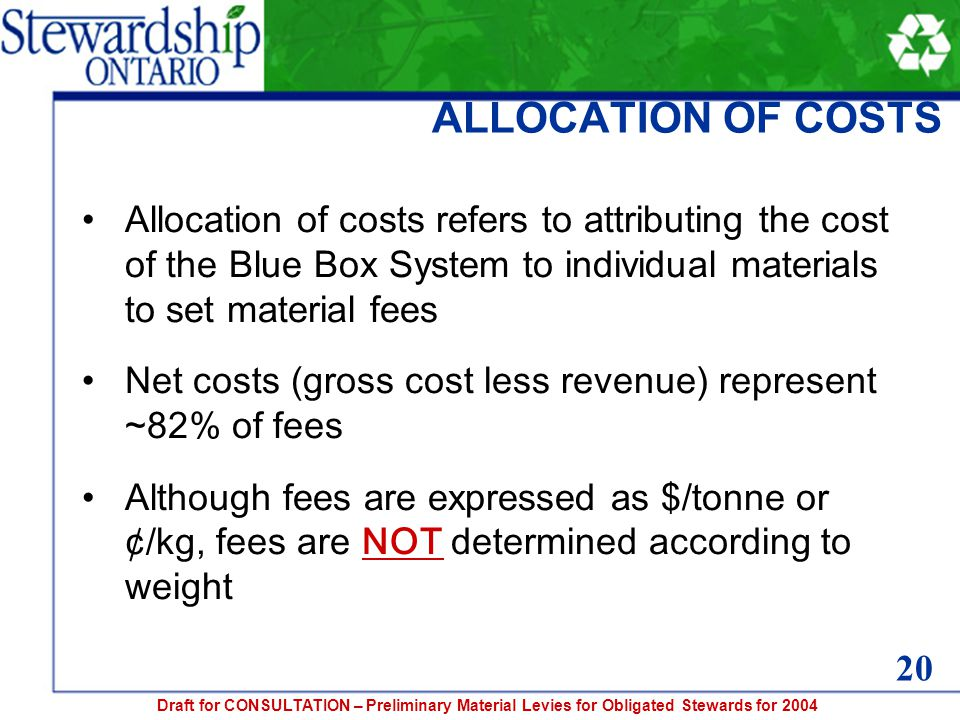Draft for CONSULTATION – Preliminary Material Levies for Obligated Stewards for 2004 ALLOCATION OF COSTS Allocation of costs refers to attributing the cost of the Blue Box System to individual materials to set material fees Net costs (gross cost less revenue) represent ~82% of fees Although fees are expressed as $/tonne or ¢/kg, fees are NOT determined according to weight 20