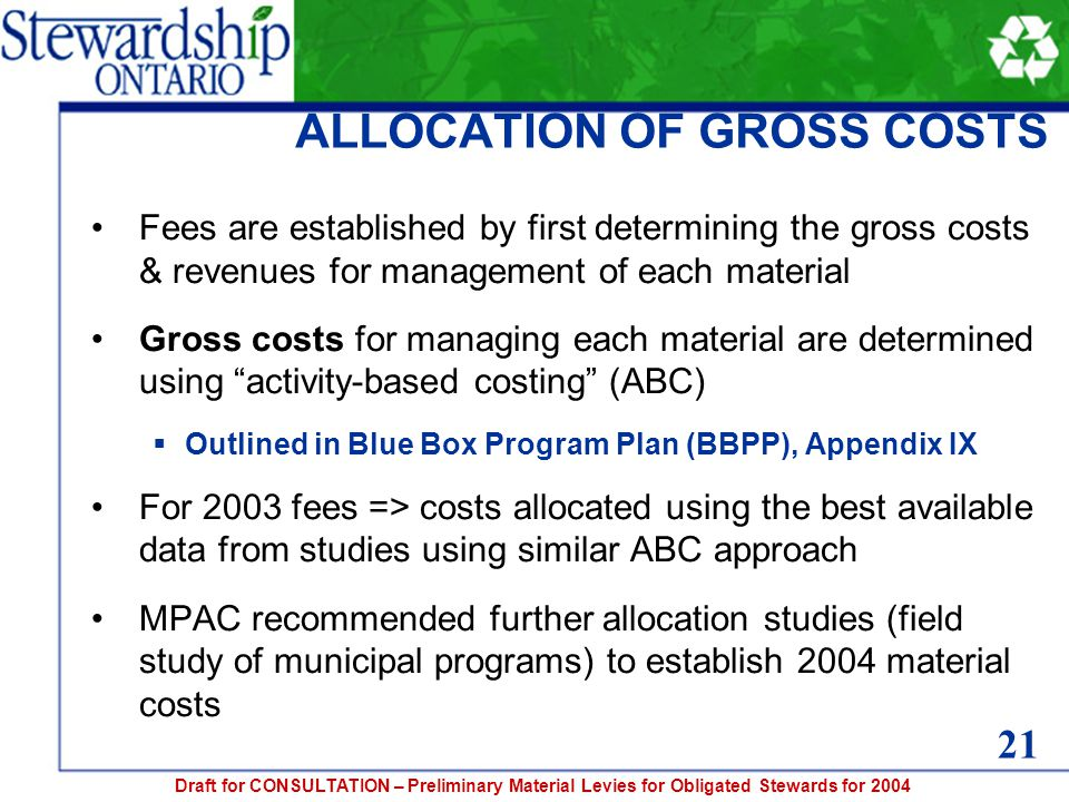 Draft for CONSULTATION – Preliminary Material Levies for Obligated Stewards for 2004 ALLOCATION OF GROSS COSTS Fees are established by first determining the gross costs & revenues for management of each material Gross costs for managing each material are determined using activity-based costing (ABC)  Outlined in Blue Box Program Plan (BBPP), Appendix IX For 2003 fees => costs allocated using the best available data from studies using similar ABC approach MPAC recommended further allocation studies (field study of municipal programs) to establish 2004 material costs 21