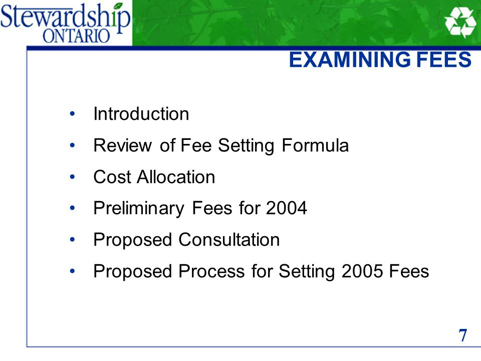 Blue Box Program Plan (BBPP) approved December 22, 2003 Extension of BBPP for 6 months First year 2003 stewards fees extended to be effective to end of June 2004 Minister requires 2004 fees for July though December to be submitted by March 31, 2004 EXAMINING FEES 8