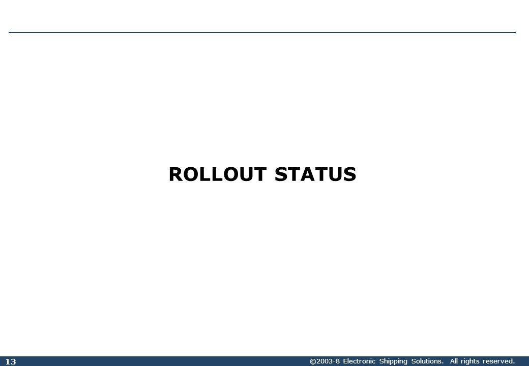 ©2003-8 Electronic Shipping Solutions. All rights reserved. 13 ROLLOUT STATUS