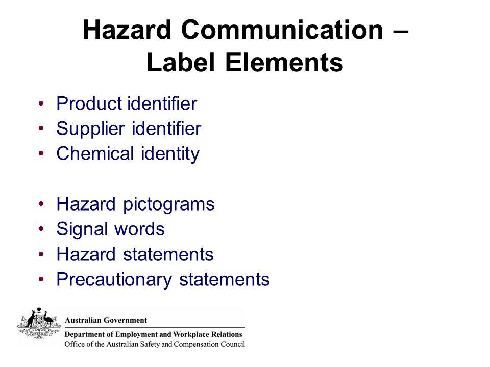 Hazard Communication – Label Elements Product identifier Supplier identifier Chemical identity Hazard pictograms Signal words Hazard statements Precau