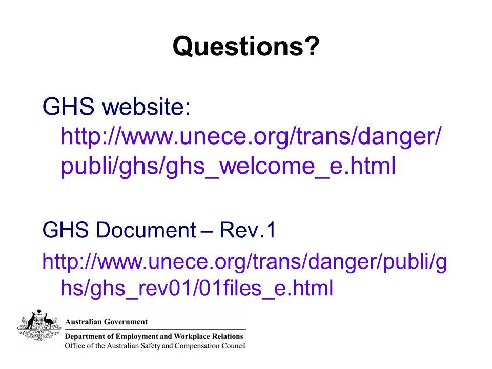 Questions? GHS website: http://www.unece.org/trans/danger/ publi/ghs/ghs_welcome_e.html GHS Document – Rev.1 http://www.unece.org/trans/danger/publi/g