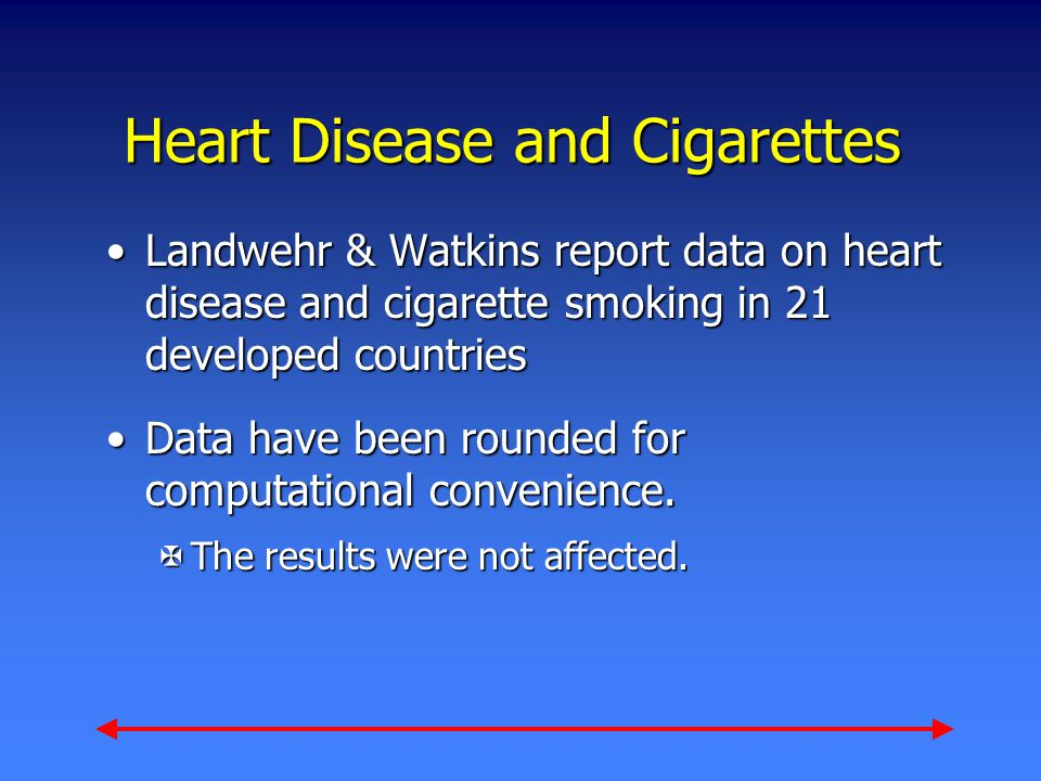 Heart Disease and Cigarettes Landwehr & Watkins report data on heart disease and cigarette smoking in 21 developed countriesLandwehr & Watkins report data on heart disease and cigarette smoking in 21 developed countries Data have been rounded for computational convenience.Data have been rounded for computational convenience.