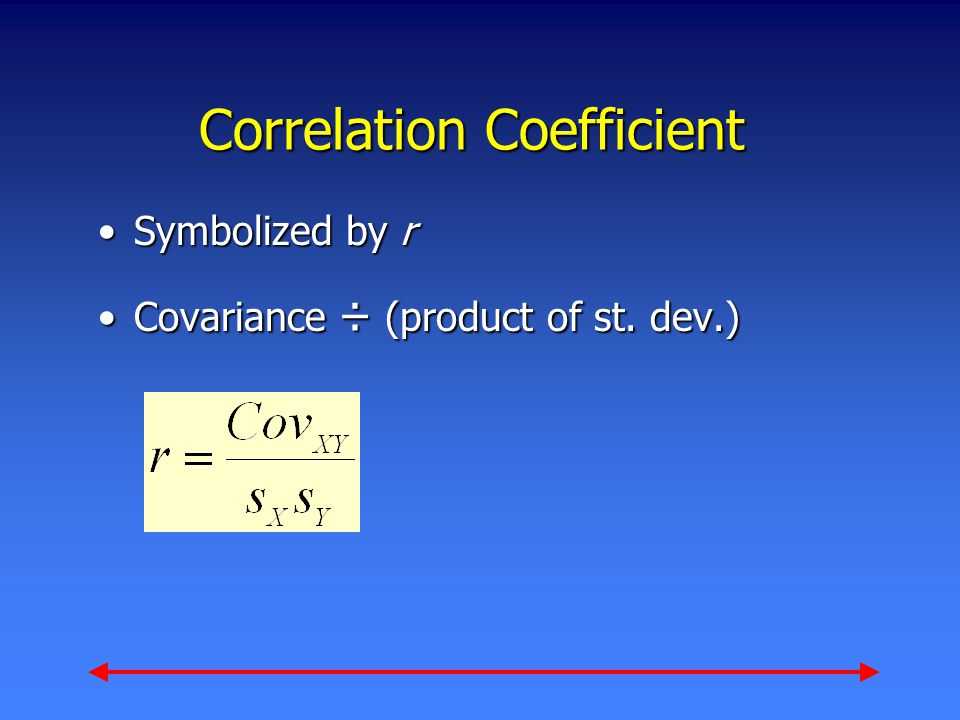 Correlation Coefficient Symbolized by rSymbolized by r Covariance ÷ (product of st. dev.)Covariance ÷ (product of st. dev.)