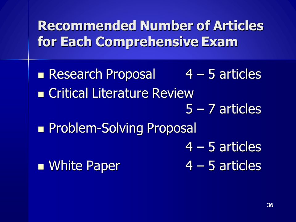 Recommended Number of Articles for Each Comprehensive Exam Research Proposal4 – 5 articles Research Proposal4 – 5 articles Critical Literature Review