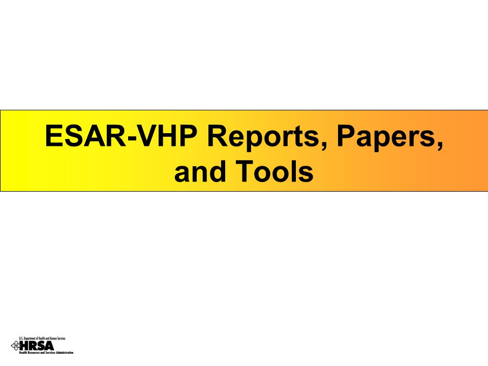 ESAR-VHP Reports, Papers, and Tools