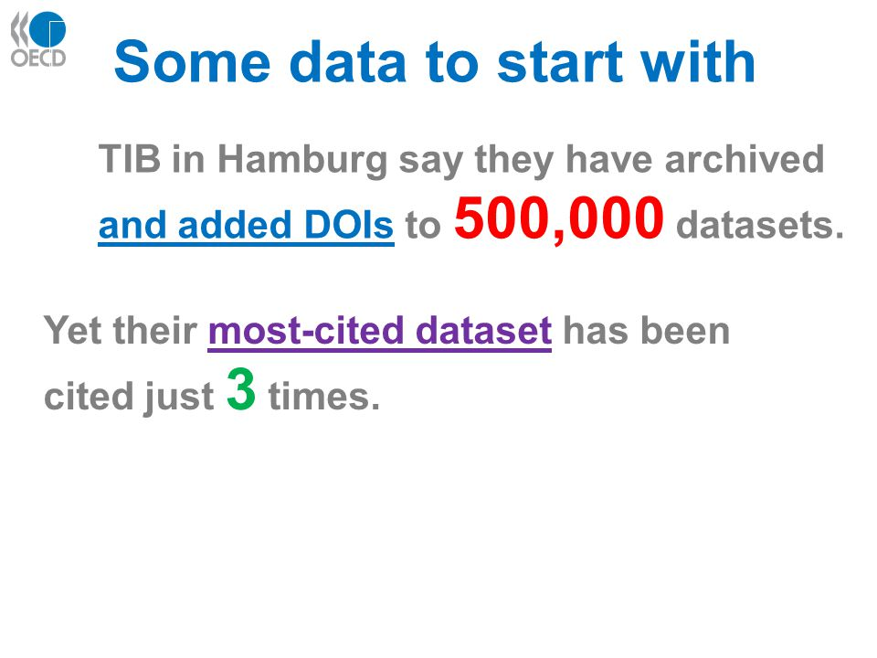 TIB in Hamburg say they have archived and added DOIs to 500,000 datasets.