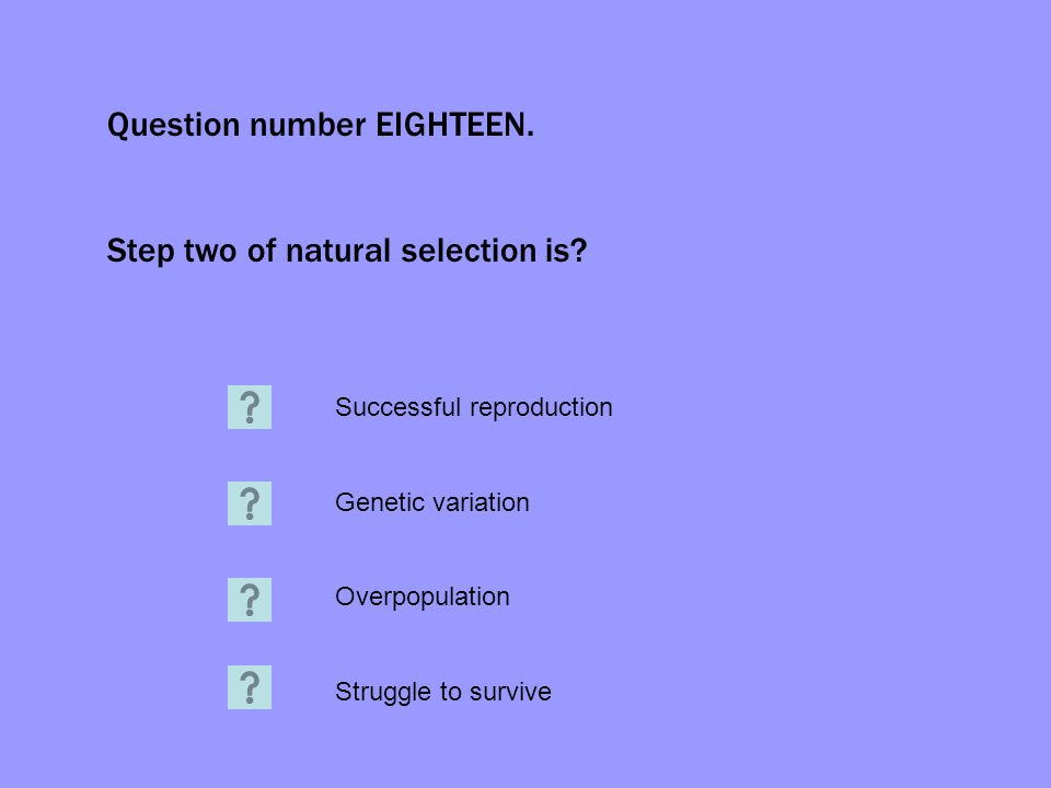 Question number EIGHTEEN. Step two of natural selection is? Successful reproduction Genetic variation Overpopulation Struggle to survive