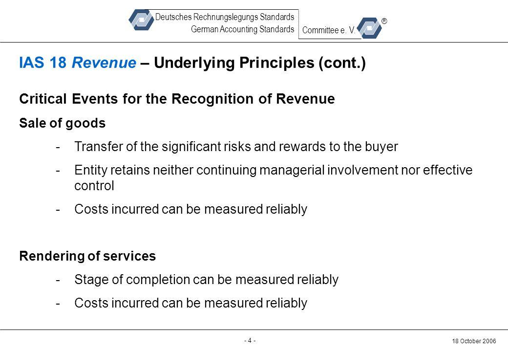Back-up - 4 - 18 October 2006 Deutsches Rechnungslegungs Standards German Accounting Standards Committee e. V. ® IAS 18 Revenue – Underlying Principle