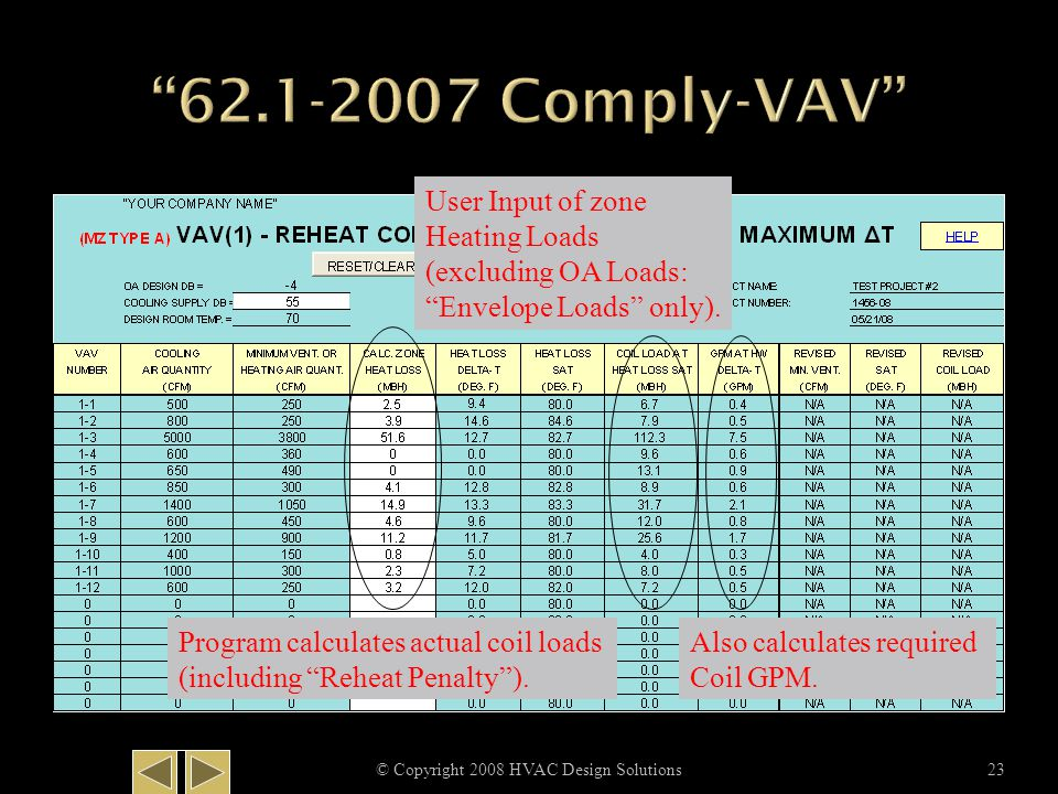 "© Copyright 2008 HVAC Design Solutions23 User Input of zone Heating Loads (excluding OA Loads: ""Envelope Loads"" only). Program calculates actual coil"