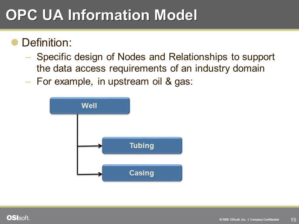 15 © 2008 OSIsoft, Inc. | Company Confidential OPC UA Information Model Definition: –Specific design of Nodes and Relationships to support the data ac