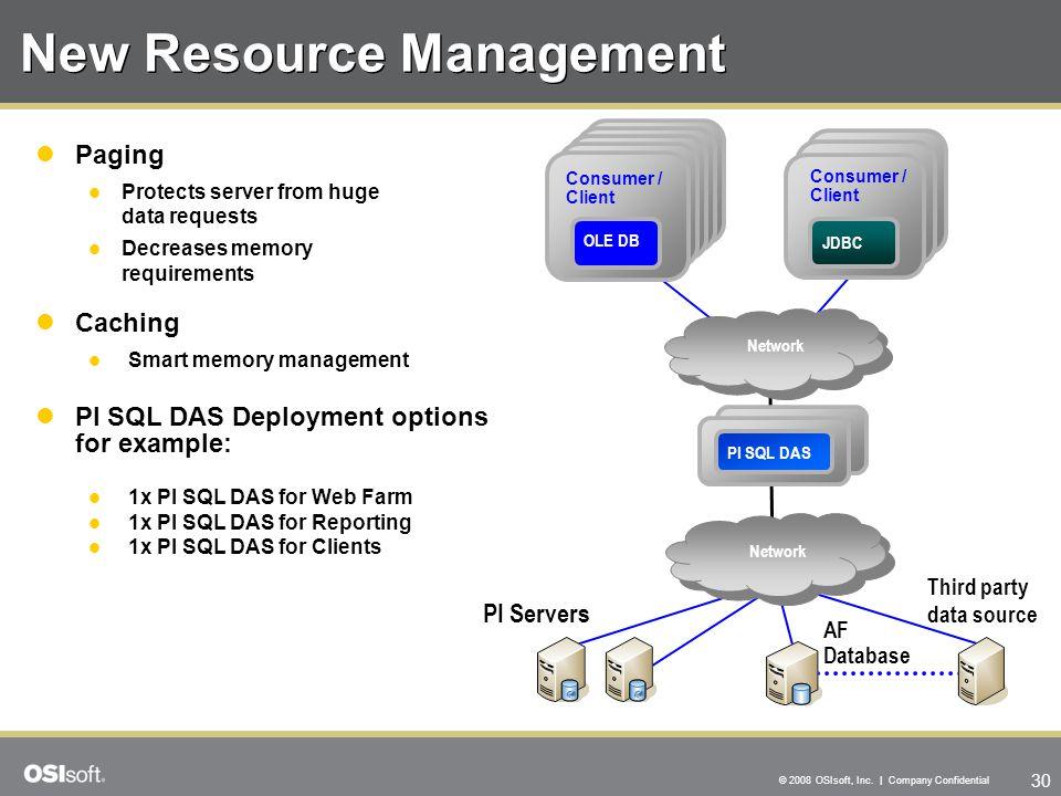 30 © 2008 OSIsoft, Inc. | Company Confidential PI DAS New Resource Management PI SQL DAS Deployment options for example: 1x PI SQL DAS for Web Farm 1x