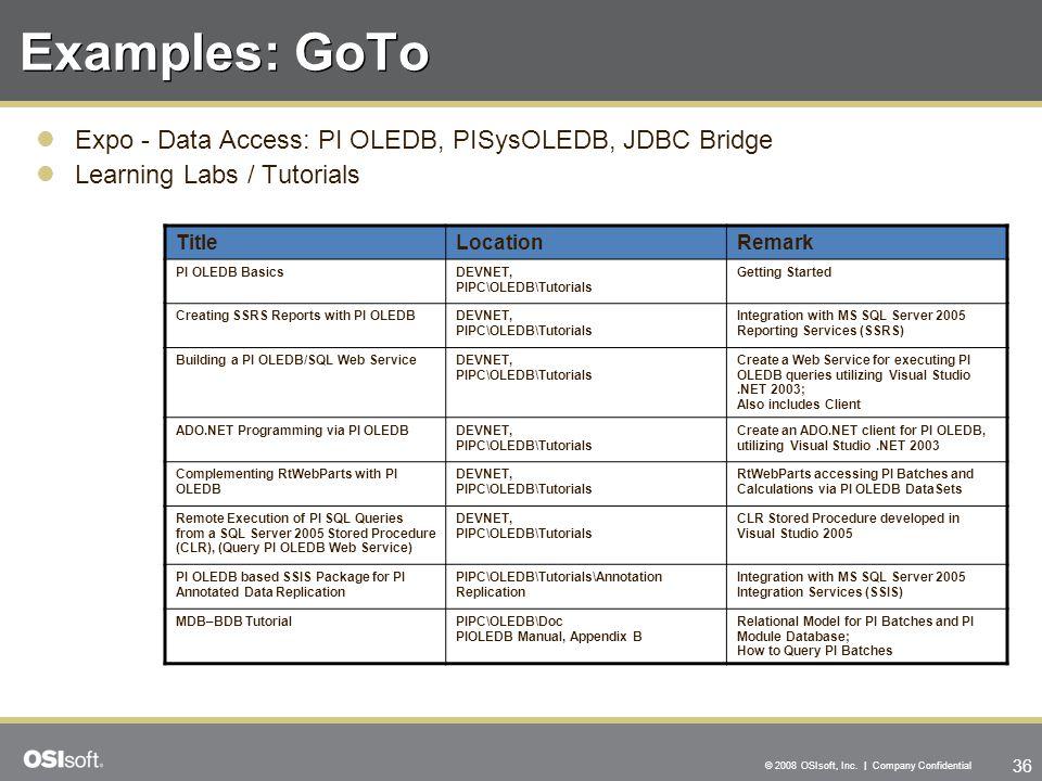 36 © 2008 OSIsoft, Inc. | Company Confidential Examples: GoTo Expo - Data Access: PI OLEDB, PISysOLEDB, JDBC Bridge Learning Labs / Tutorials TitleLoc