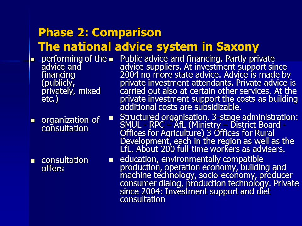 Phase 2: Comparison The national advice system in Saxony performing of the advice and financing (publicly, privately, mixed etc.) performing of the advice and financing (publicly, privately, mixed etc.) organization of consultation organization of consultation consultation offers consultation offers Public advice and financing.
