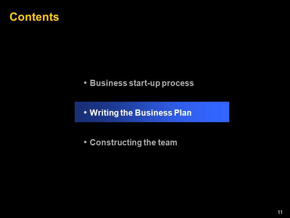 050301LNZXL756LTDE-P1 11 Contents Business start-up process Writing the Business Plan Constructing the team