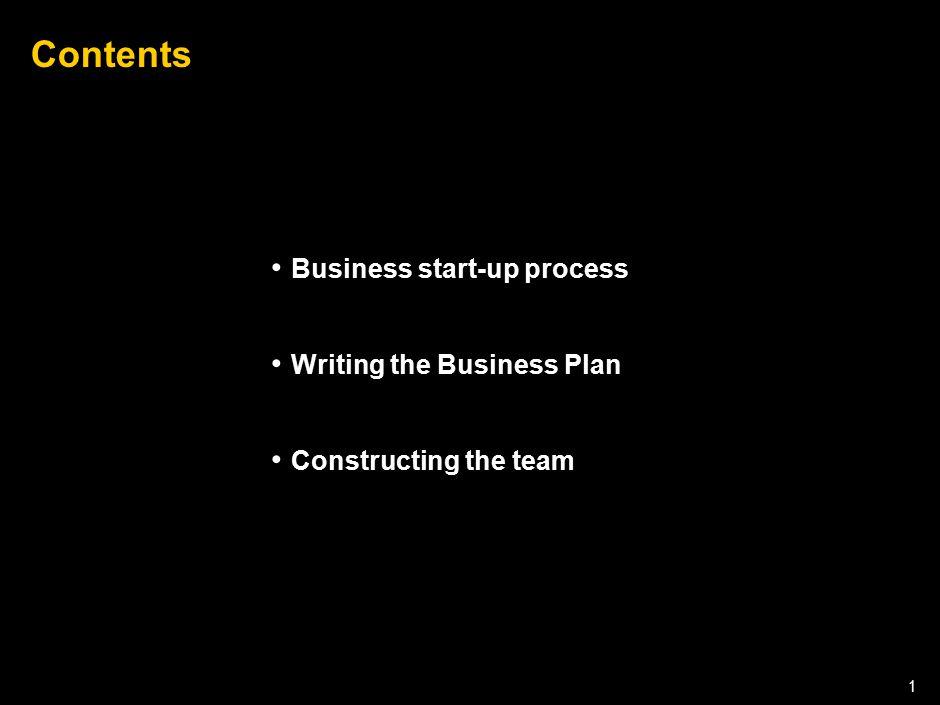 050301LNZXL756LTDE-P1 1 Contents Business start-up process Writing the Business Plan Constructing the team