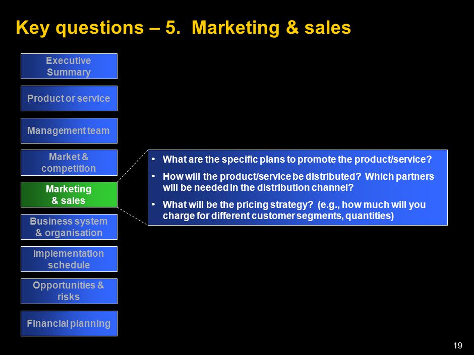 050301LNZXL756LTDE-P1 19 Key questions – 5. Marketing & sales Executive Summary Product or service Management team Market & competition Marketing & sa