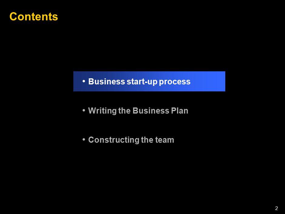 050301LNZXL756LTDE-P1 2 Contents Business start-up process Writing the Business Plan Constructing the team