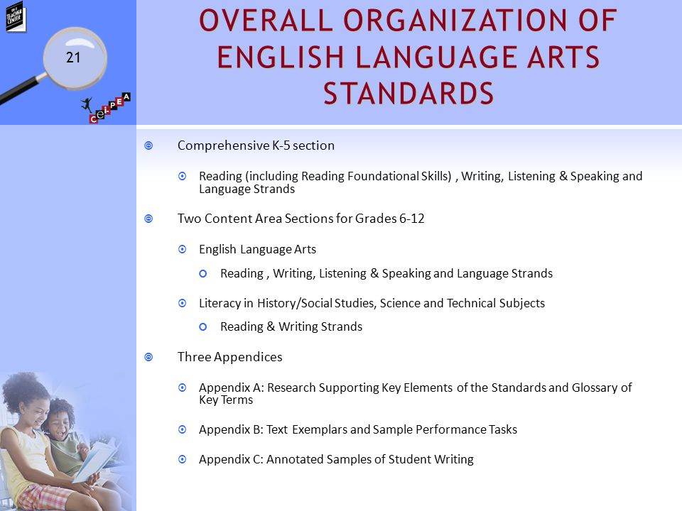 OVERALL ORGANIZATION OF ENGLISH LANGUAGE ARTS STANDARDS  Comprehensive K-5 section  Reading (including Reading Foundational Skills), Writing, Listening & Speaking and Language Strands  Two Content Area Sections for Grades 6-12  English Language Arts Reading, Writing, Listening & Speaking and Language Strands  Literacy in History/Social Studies, Science and Technical Subjects Reading & Writing Strands  Three Appendices  Appendix A: Research Supporting Key Elements of the Standards and Glossary of Key Terms  Appendix B: Text Exemplars and Sample Performance Tasks  Appendix C: Annotated Samples of Student Writing 21