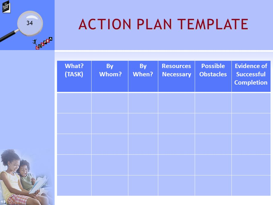 ACTION PLAN TEMPLATE What? (TASK) By Whom? By When? Resources Necessary Possible Obstacles Evidence of Successful Completion 34