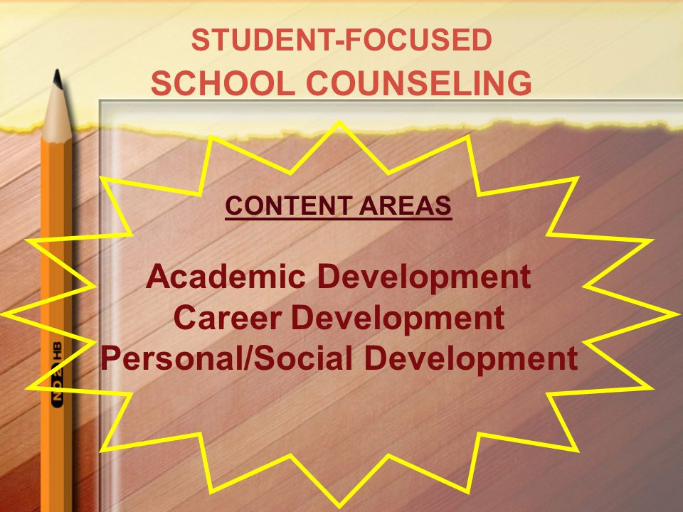 CONTENT AREAS Academic Development Career Development Personal/Social Development STUDENT-FOCUSED SCHOOL COUNSELING