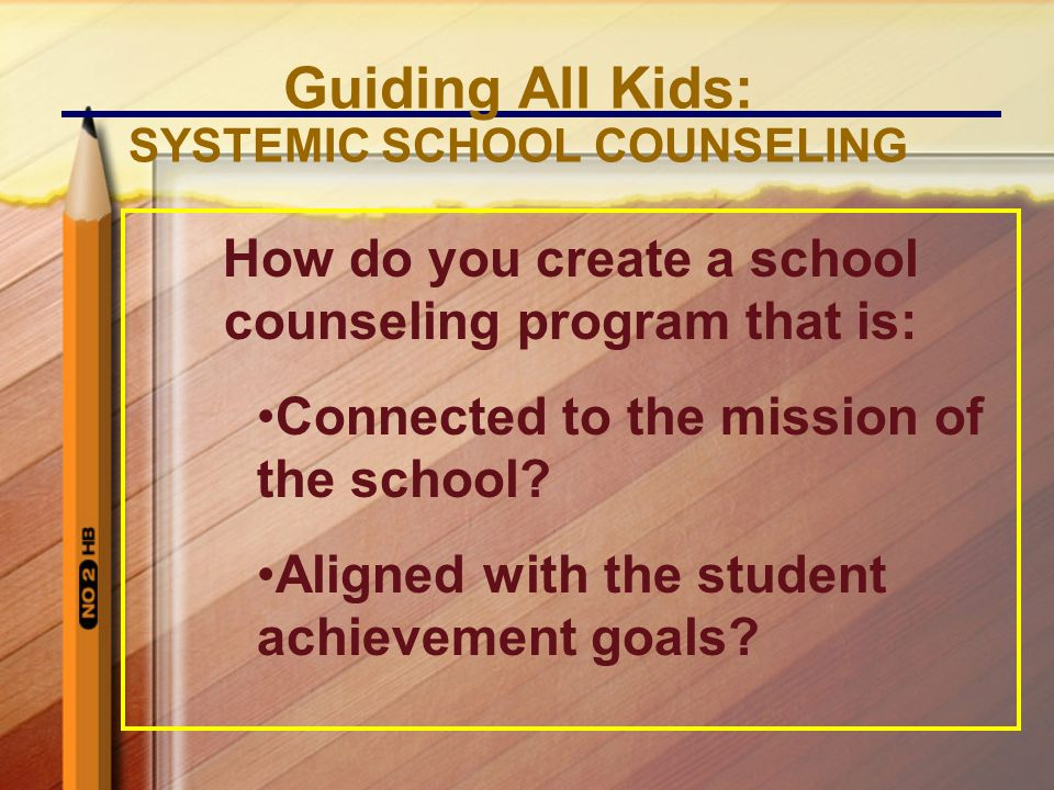 How do you create a school counseling program that is: Connected to the mission of the school.