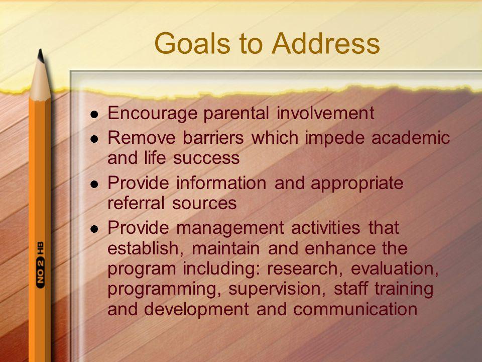 Goals to Address Encourage parental involvement Remove barriers which impede academic and life success Provide information and appropriate referral sources Provide management activities that establish, maintain and enhance the program including: research, evaluation, programming, supervision, staff training and development and communication