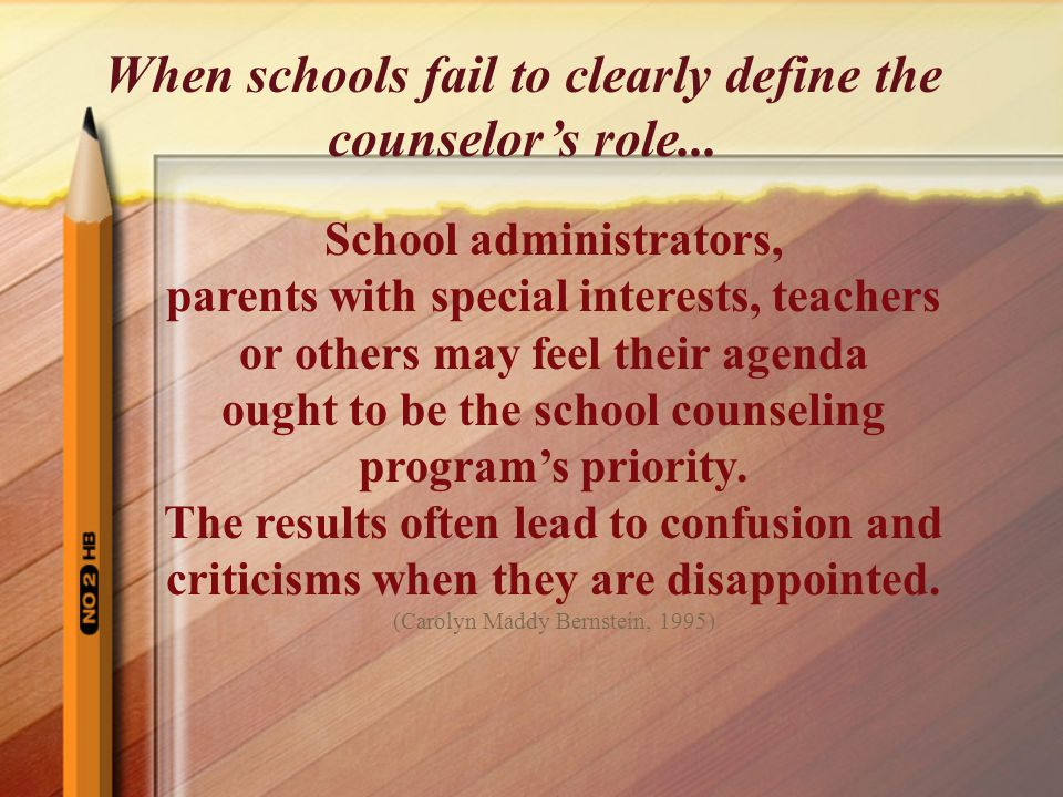 School administrators, parents with special interests, teachers or others may feel their agenda ought to be the school counseling program's priority.