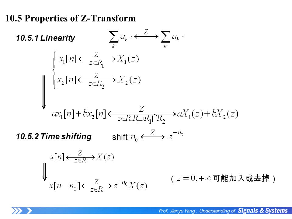 10.5 Properties of Z-Transform ( 可能加入或去掉) 10.5.1 Linearity 10.5.2 Time shifting shift