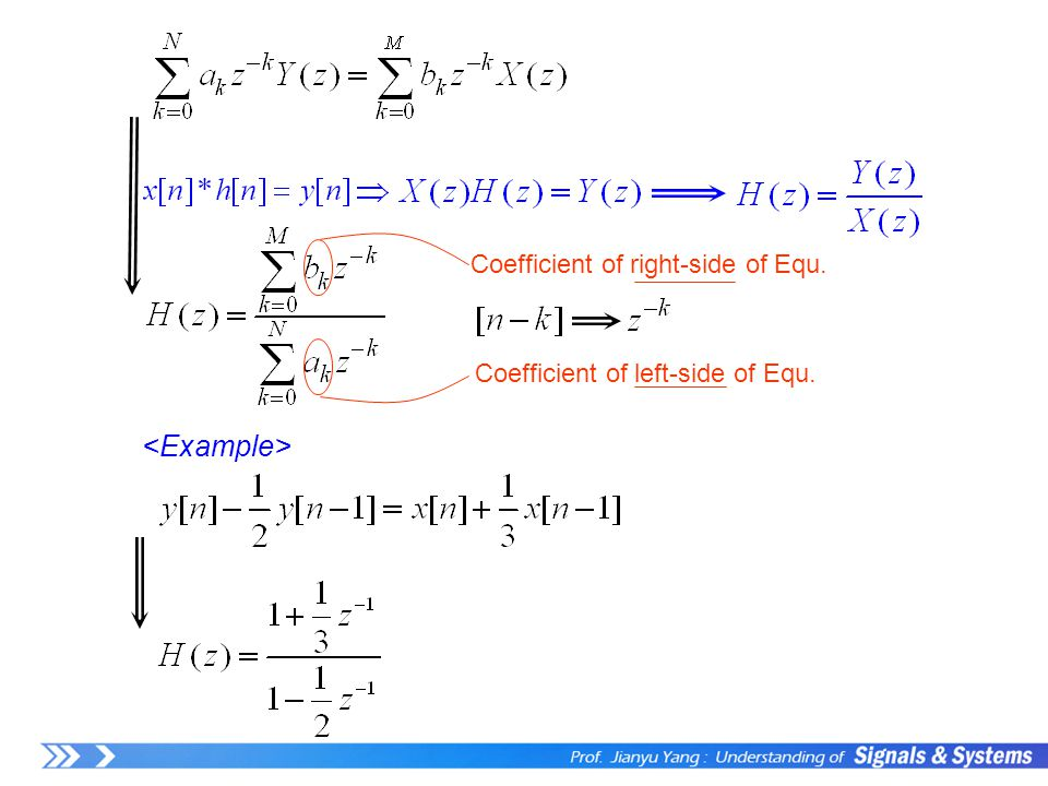 Coefficient of right-side of Equ. Coefficient of left-side of Equ.