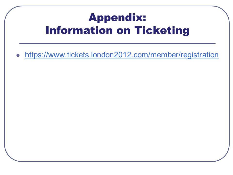 Appendix: Information on Ticketing https://www.tickets.london2012.com/member/registration